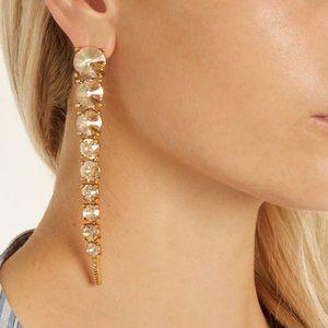 Oscar de la Renta Crystal Tendril Pierced Earrings